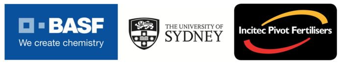 BASF logo, University of Sydney logo, Incited Pivot Fertilisers logo