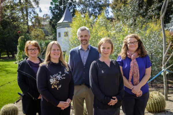 Members of the excellence award team from the Rural Innovation Research Group, from left to right: Professor Ruth Nettle, Nicole Reichelt, Dr Michael Santhanam-Martin, Dr Jana-Axinja Paschen, Dr Margaret Ayre, (Dr Barbara King absent). Photo: Stuart Winthrope.