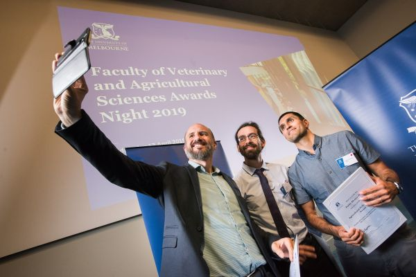 Award recipients and graduate researchers José Quinteros Ugarte, Carlos Loncoman Pardo and Pablo Alvarez Hess